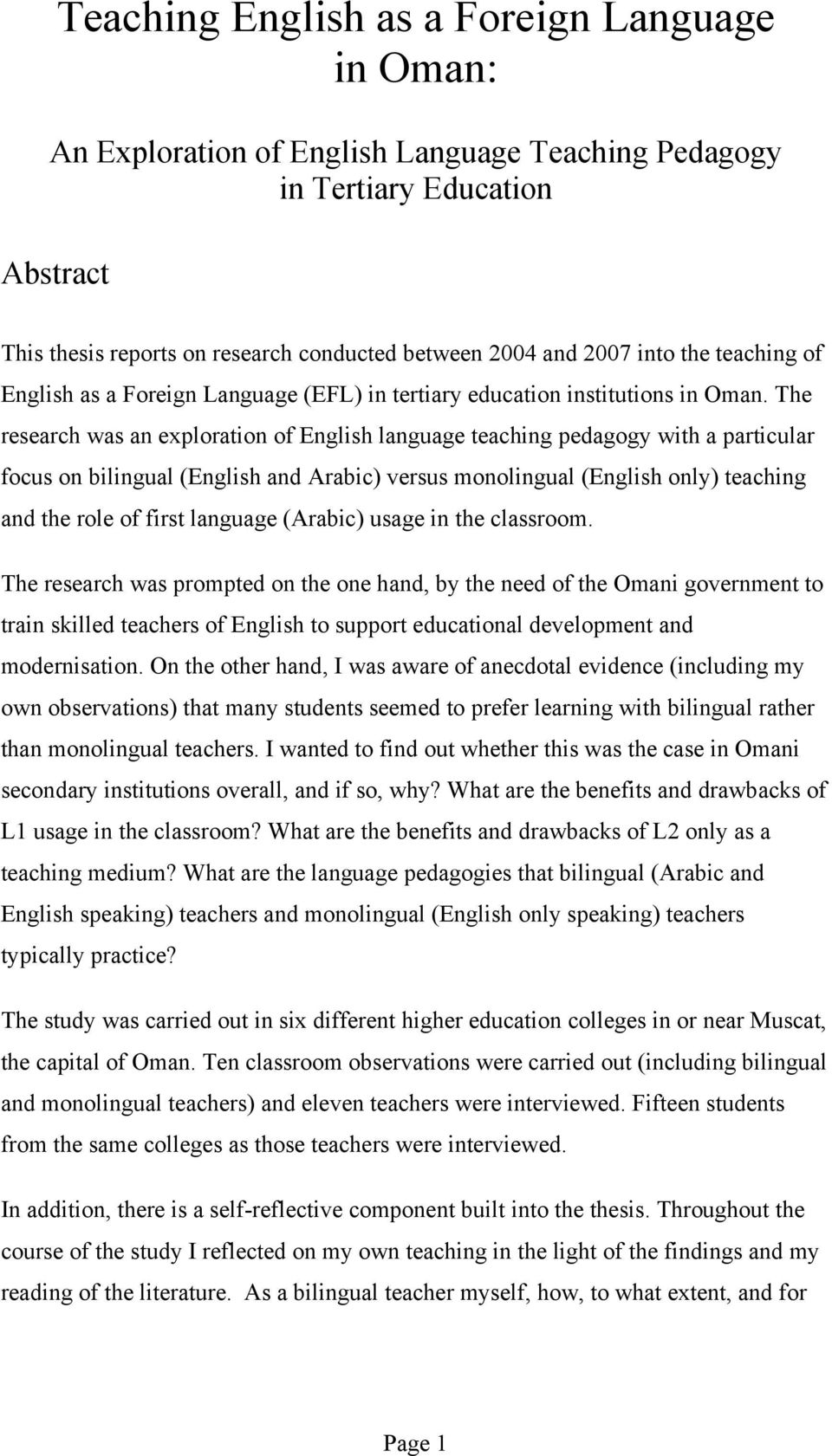 Teaching English as a Foreign Language in Oman: An