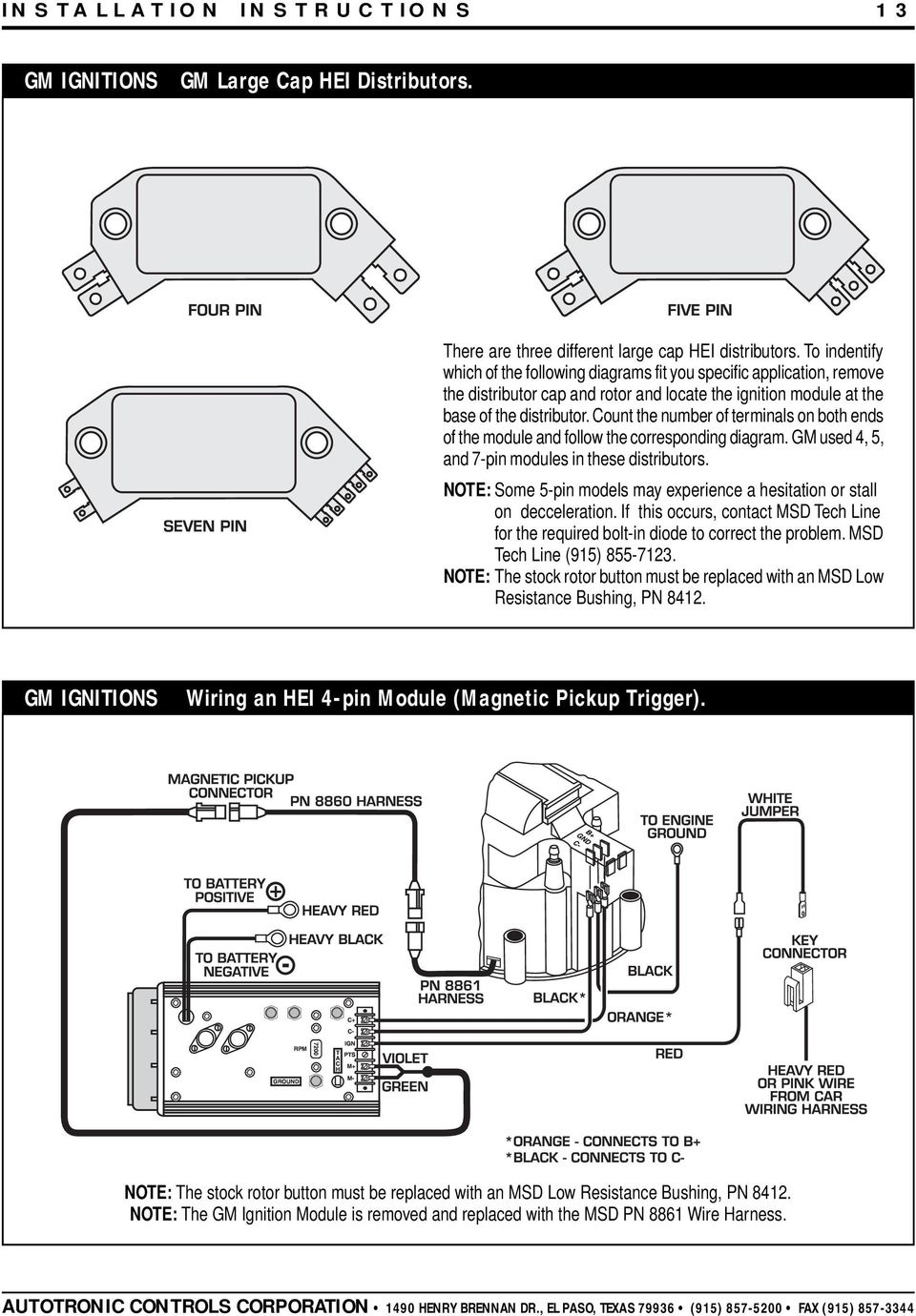 Msd 7al 2 Ignition Pn 7220 7224 7226 Pdf 1965 Chevy Truck Distributor Wiring Count The Number Of Terminals On Both Ends Module And Follow Corresponding Diagram 14 Installation Instructions Gm Ignitions