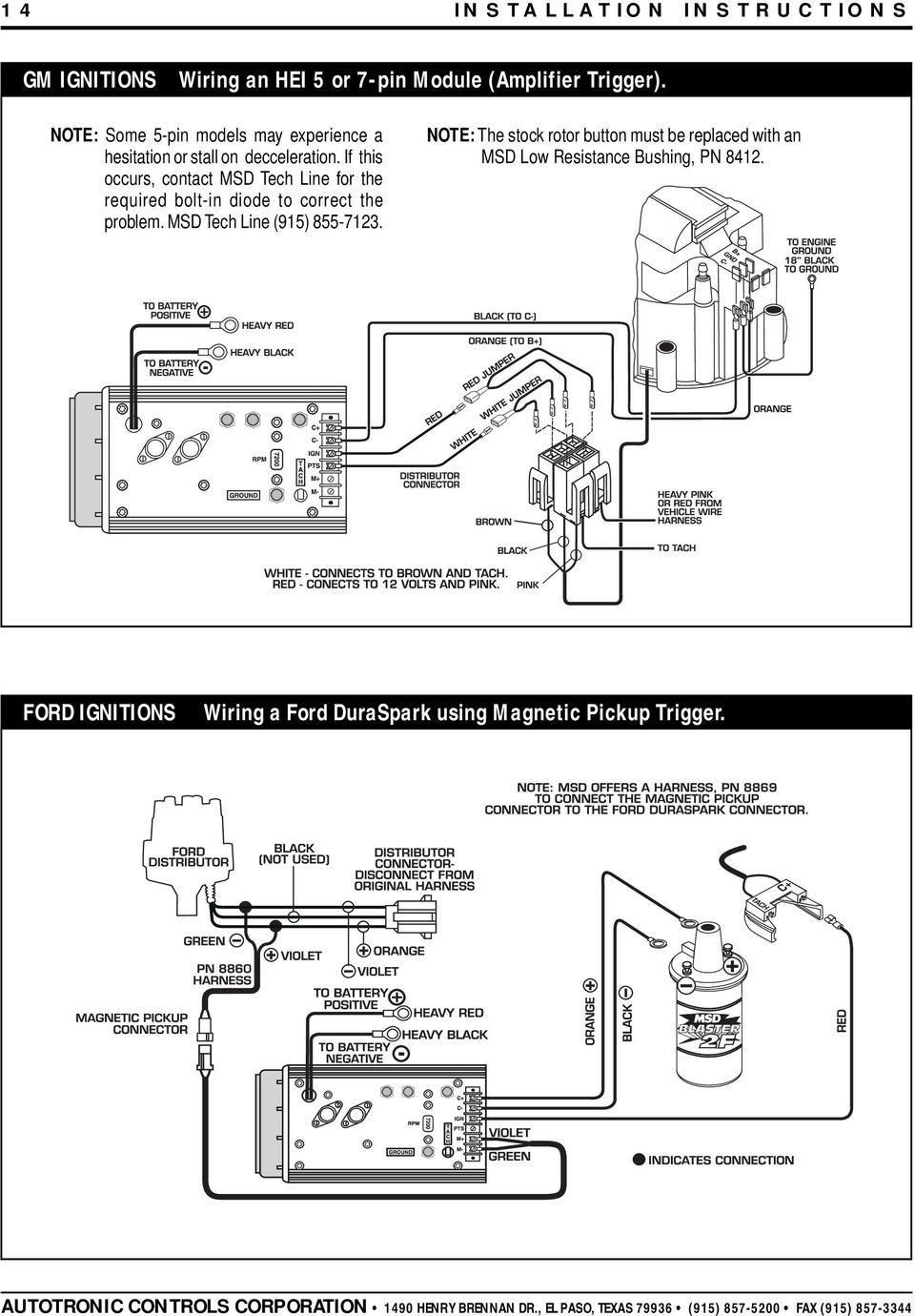 Msd 7al 2 Ignition Pn 7220 7224 7226 Pdf Wiring 6 Into 1978 Ford If This Occurs Contact Tech Line For The Required Bolt In Diode To 15 Installation Instructions