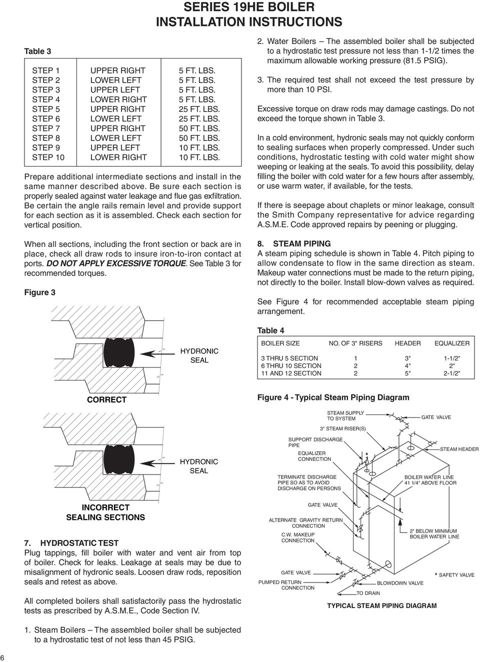 Series 19he Boiler Installation Instructions Pdf Piping Diagram Of Steam E Sure Each Section Is Properly Sealed Against Water Leakage And Flue Gas Exfiltration