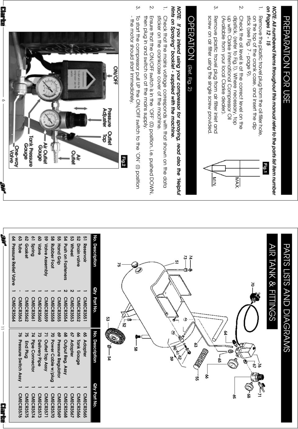 OPERATING & MAINTENANCE AIR COMPRESSOR RANGER 35 INSTRUCTIONS  Part
