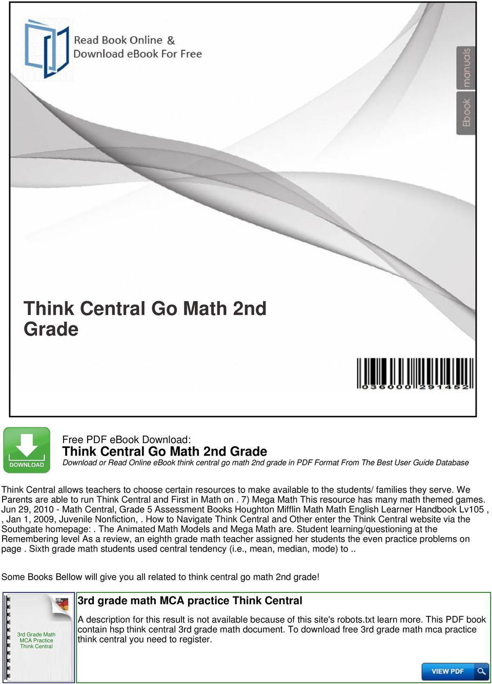 Think Central Go Math 2nd Grade Pdf