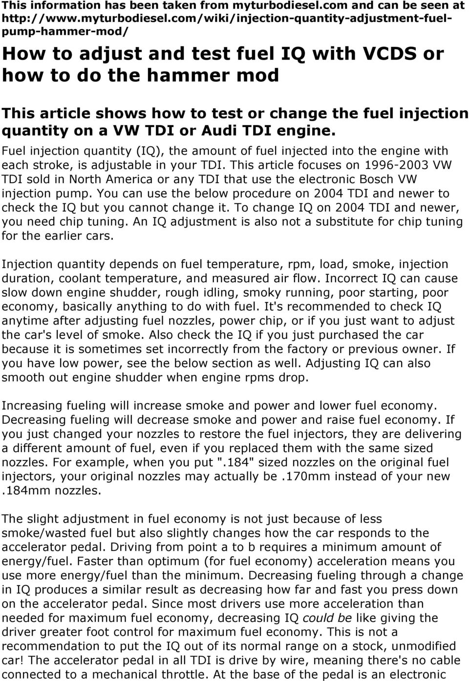 How to adjust and test fuel IQ with VCDS or how to do the