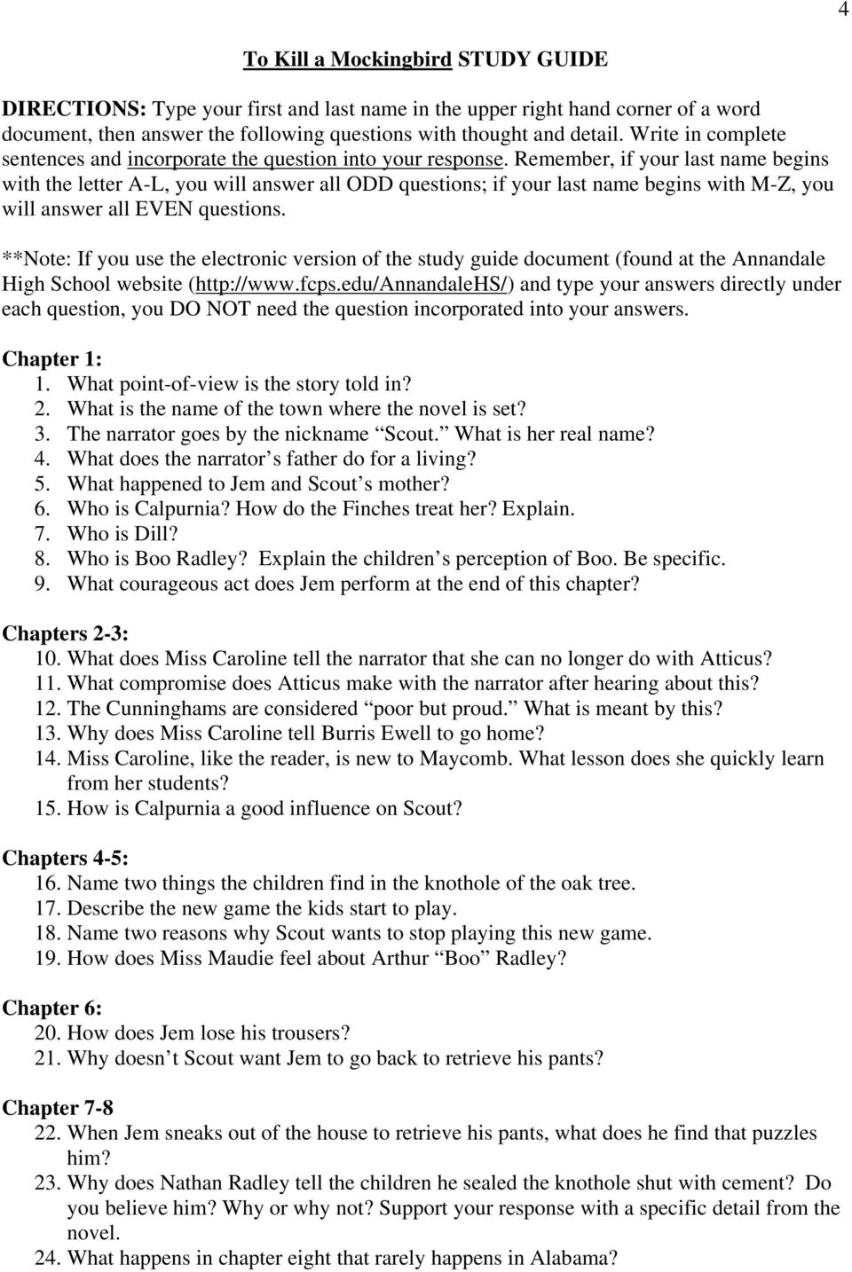 chapter 16 to kill a mockingbird study guide