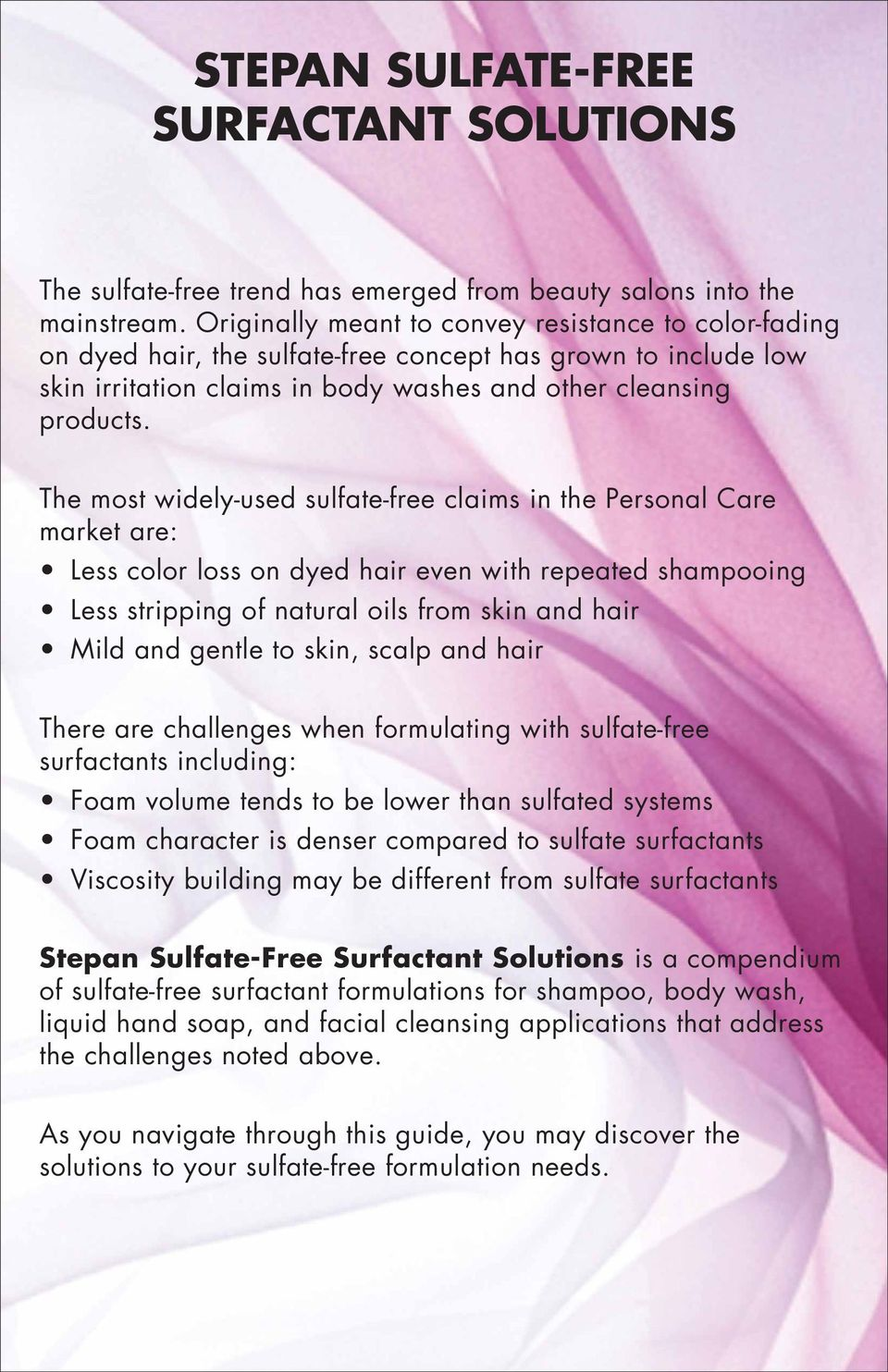 STEPAN SULFATE-FREE SURFACTANT SOLUTIONS - PDF