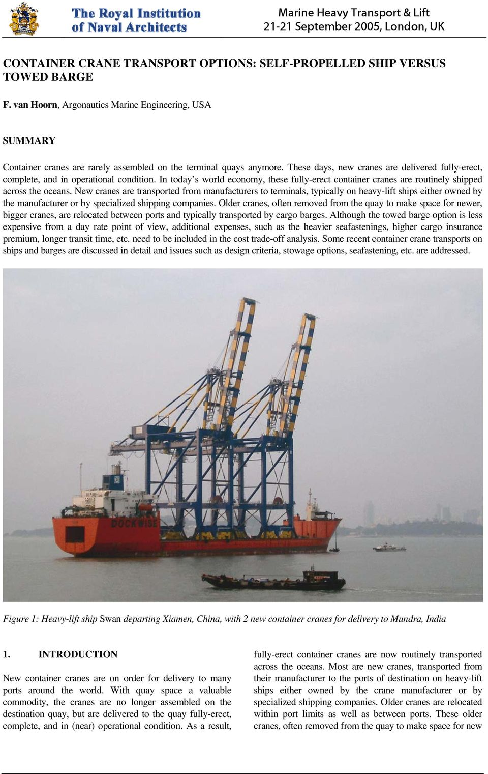 CONTAINER CRANE TRANSPORT OPTIONS: SELF-PROPELLED SHIP