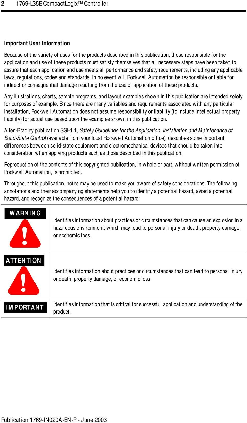 regulations, codes and standards. In no event will Rockwell Automation be responsible or liable for indirect or consequential damage resulting from the use or application of these products.