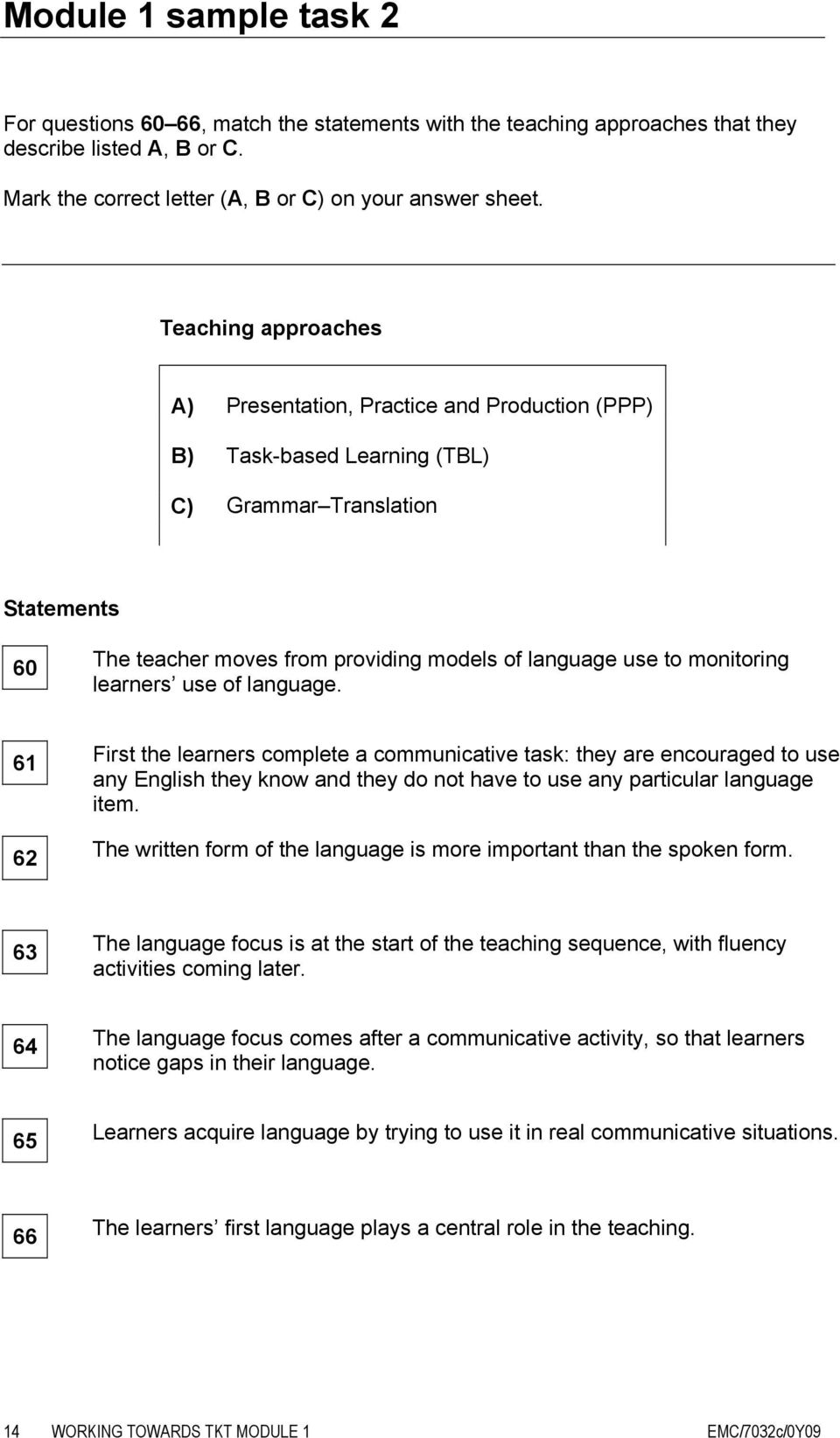 monitoring learners use of language. 61 62 First the learners complete a communicative task: they are encouraged to use any English they know and they do not have to use any particular language item.