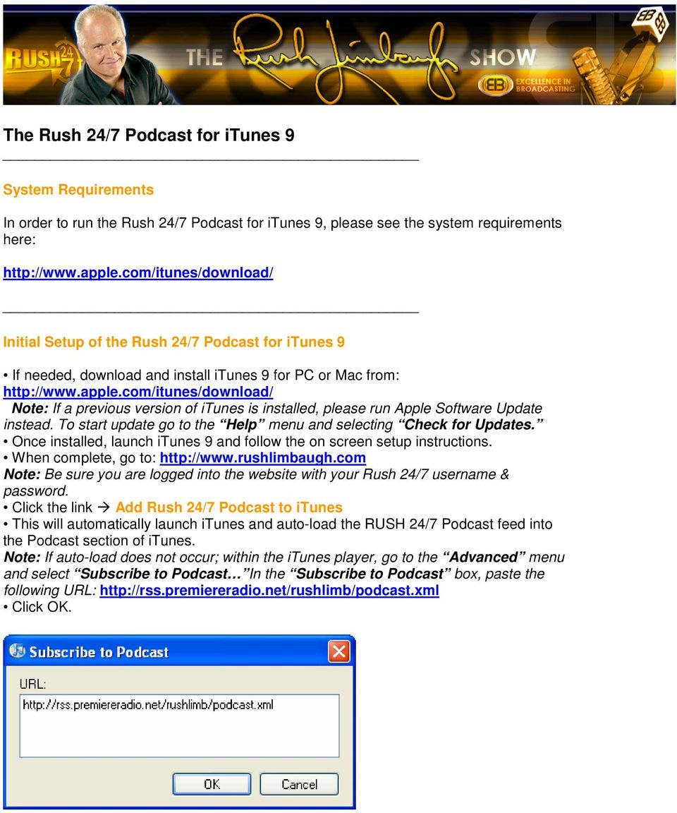 The Rush 24/7 Podcast for itunes 9 - PDF