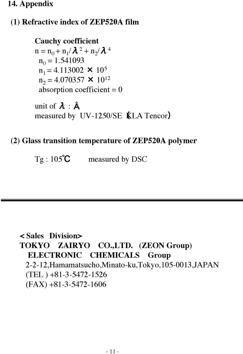 ZEP520A ZEP520A  Technical Report ZEON CORPORATION  High