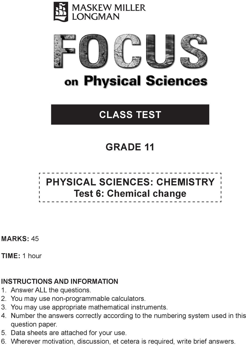 CLASS TEST GRADE 11  PHYSICAL SCIENCES: CHEMISTRY Test 6