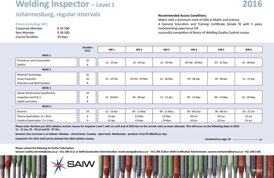 Southern African Institute Of Welding Course Prospectus 2016 Saiw