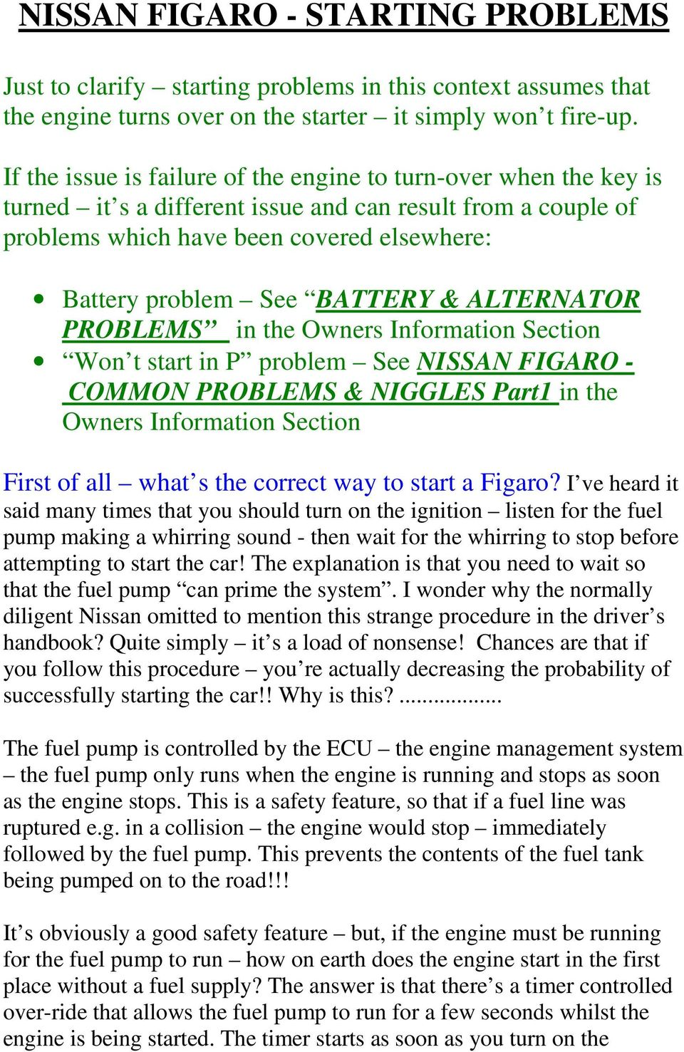 Nissan Figaro Starting Problems Pdf Firing Order Diagram Battery Alternator In The Owners Information Section Won T Start P Problem See