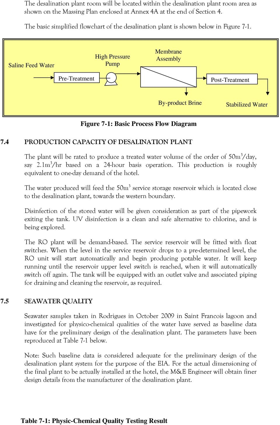 7 Technical Aspects Of Desalination Plant Pdf Process Flow Diagram Reverse Osmosis Saline Feed Water High Pressure Pump Membrane Assembly Pre Treatment Post By