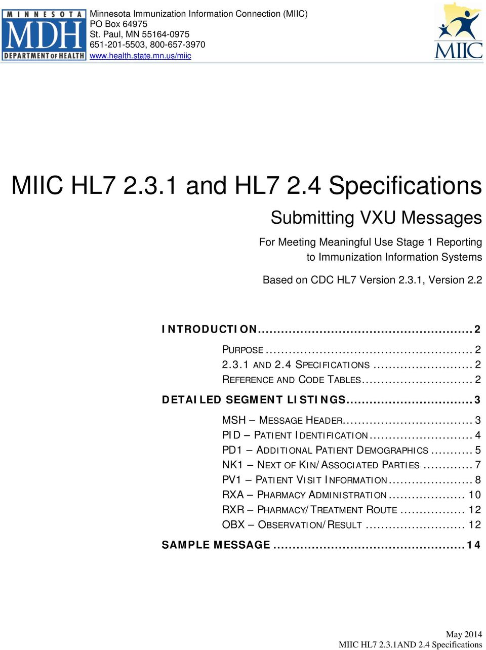 MIIC HL and HL7 2 4 Specifications - PDF