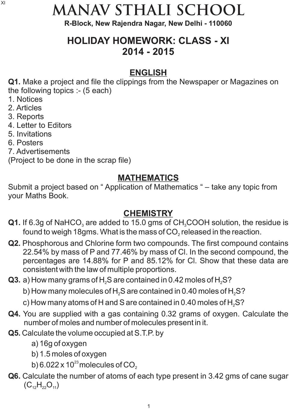 Holiday Homework  Class  Viii English Mathematics  Pdf