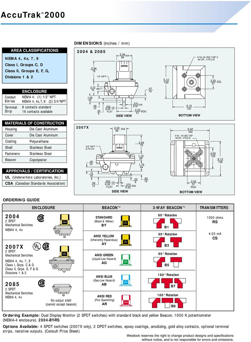 Accutrak Rotary Valve Position Monitors Spdt Switch Wiring Diagram Foot 41 10 Bottom View 5