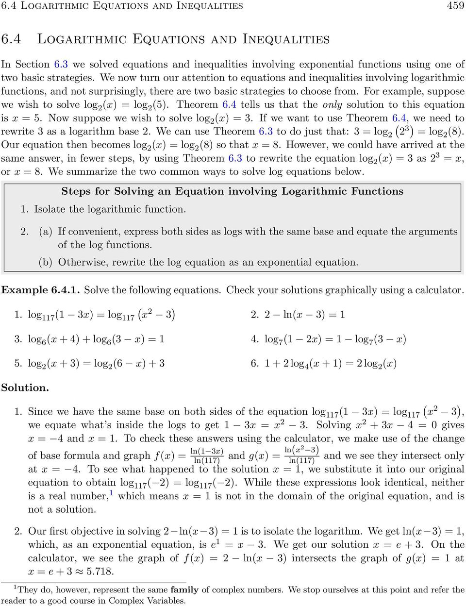 6.4 Logarithmic Equations and Inequalities - PDF Free Download