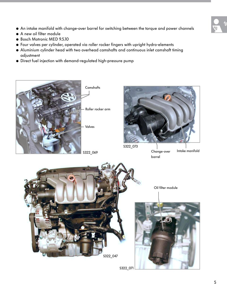The 20l Fsi Engine With 4 Valve Technology Pdf Audi 2000 2 8l Oil Diagram 10 Four Valves Per Cylinder Operated Via Roller Rocker Fingers Upright Hydro Elements