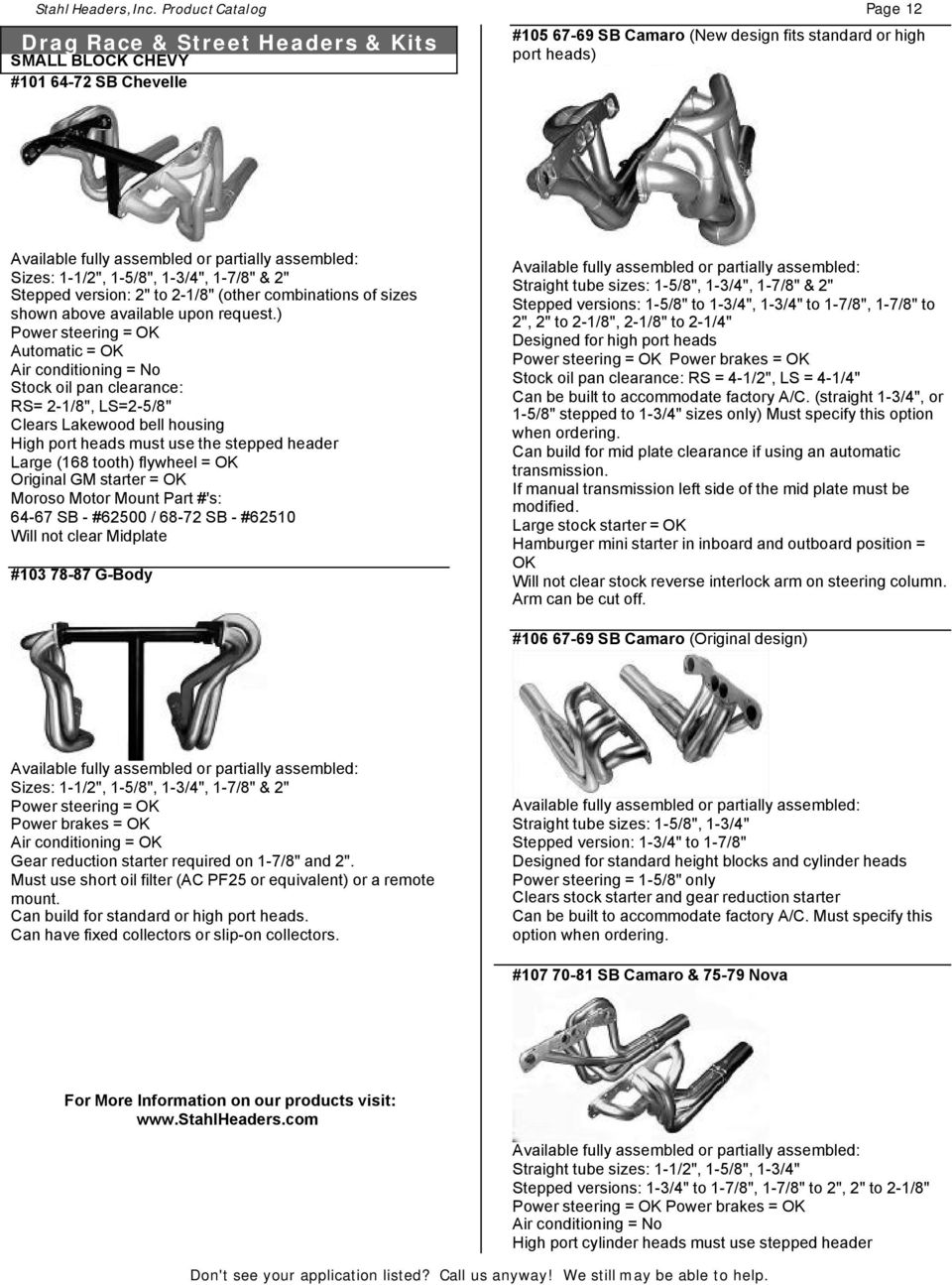 Product Catalog  Manufacturing #1 Quality Headers & Parts Since PDF