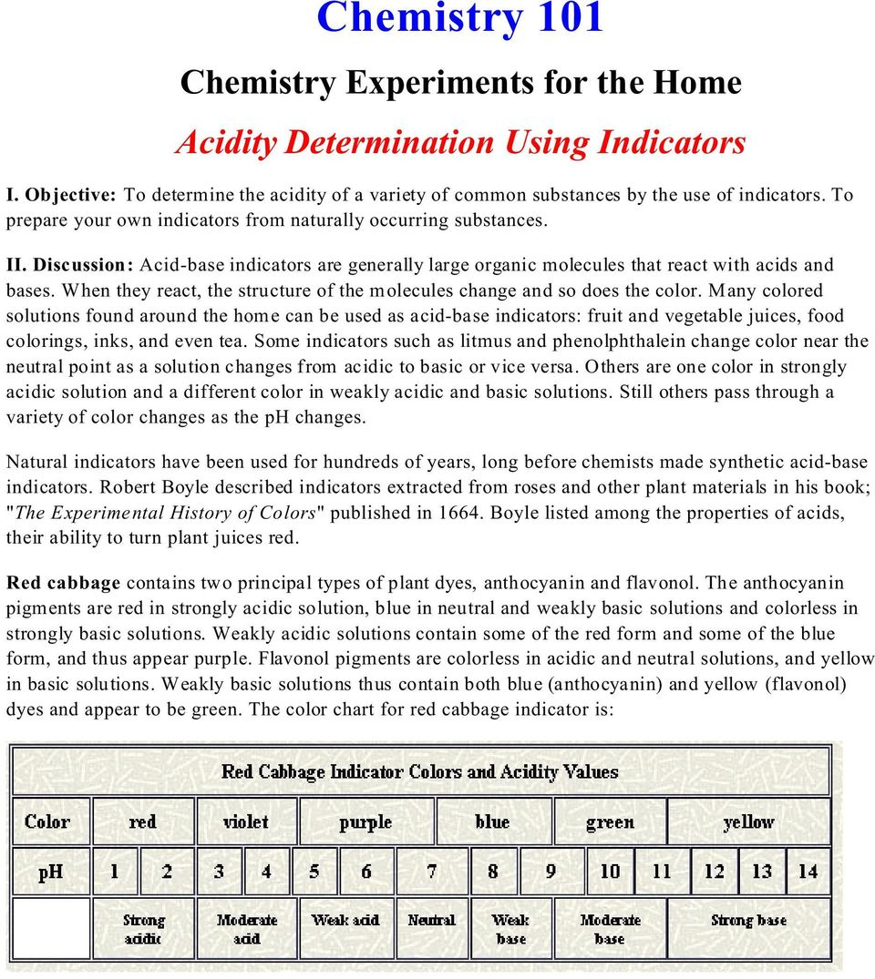 Chemistry 101  Chemistry Experiments for the Home Acidity