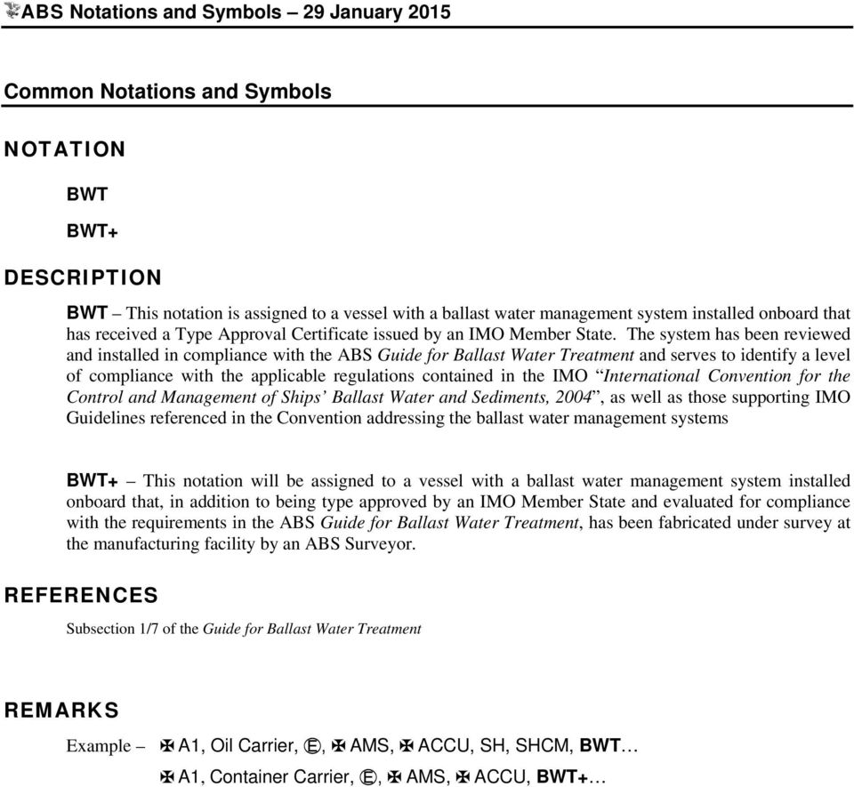 The following listing of ABS Classification notations is