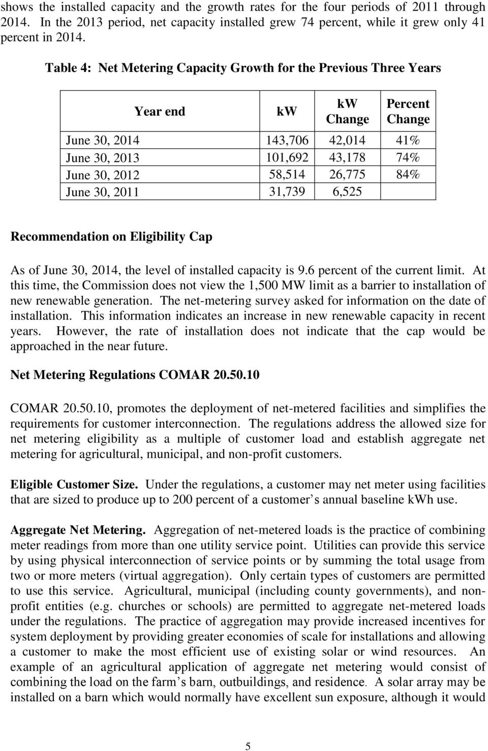 2011 31,739 6,525 Recommendation on Eligibility Cap As of June 30, 2014, the level of installed capacity is 9.6 percent of the current limit.