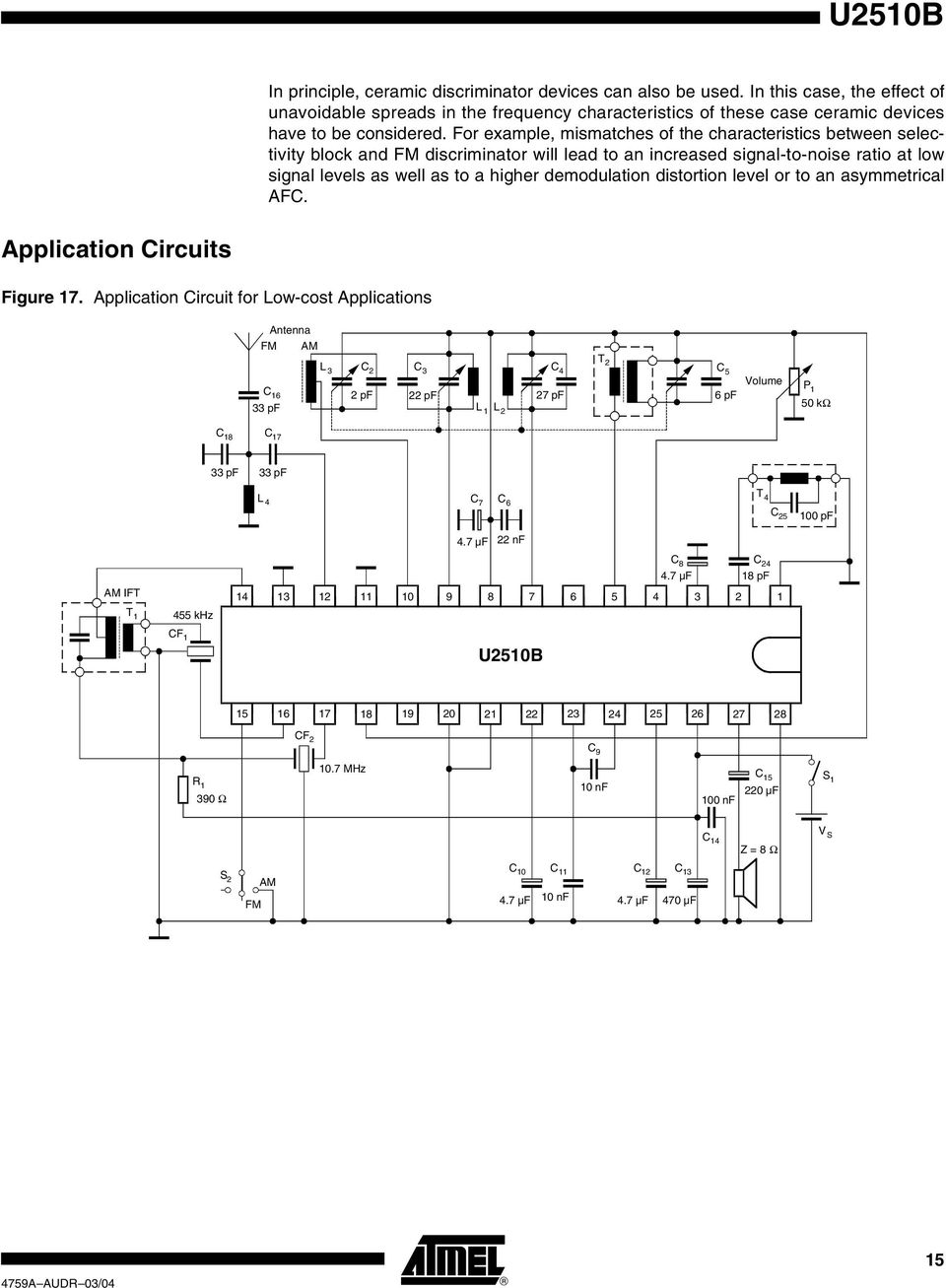 All Band Am Fm Receiver And Audio Amplifier Ic U2510b Pdf Wireless Receiving Demodulation Integrated Circuit Diagram For Example Mismatches Of The Characteristics Between Selectivity Block Discriminator Will Lead To An
