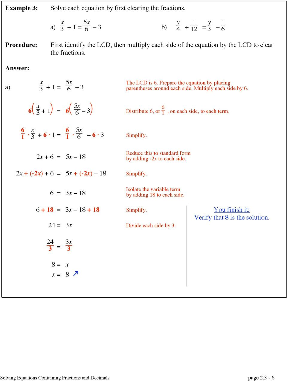 how to solve equations containing fractions