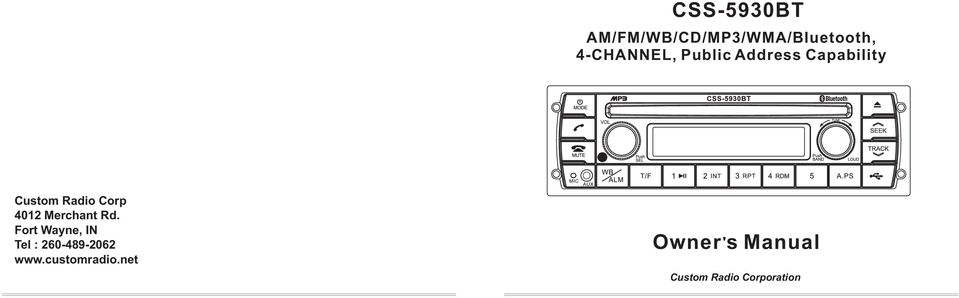 CSS-5930BT  Owner s Manual  AM/FM/WB/CD/MP3/WMA/Bluetooth, 4-CHANNEL