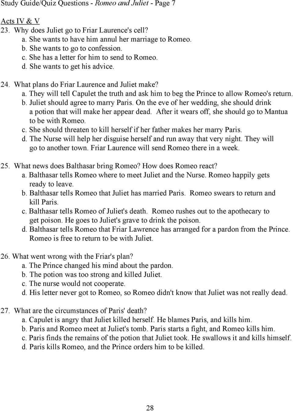 MULTIPLE CHOICE STUDY GUIDE/QUIZ QUESTIONS - Romeo and