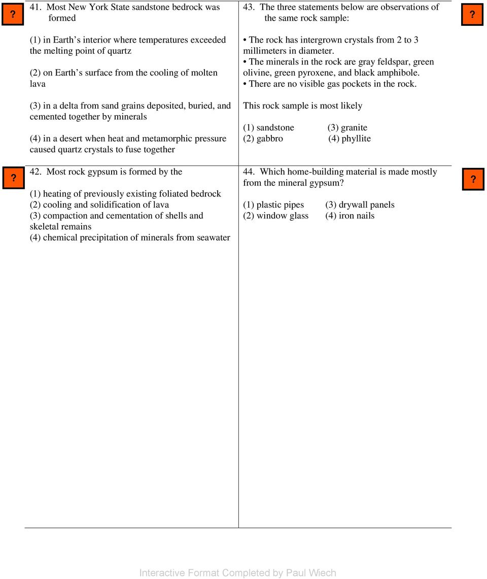 Rocks and Minerals Multiple Choice - PDF