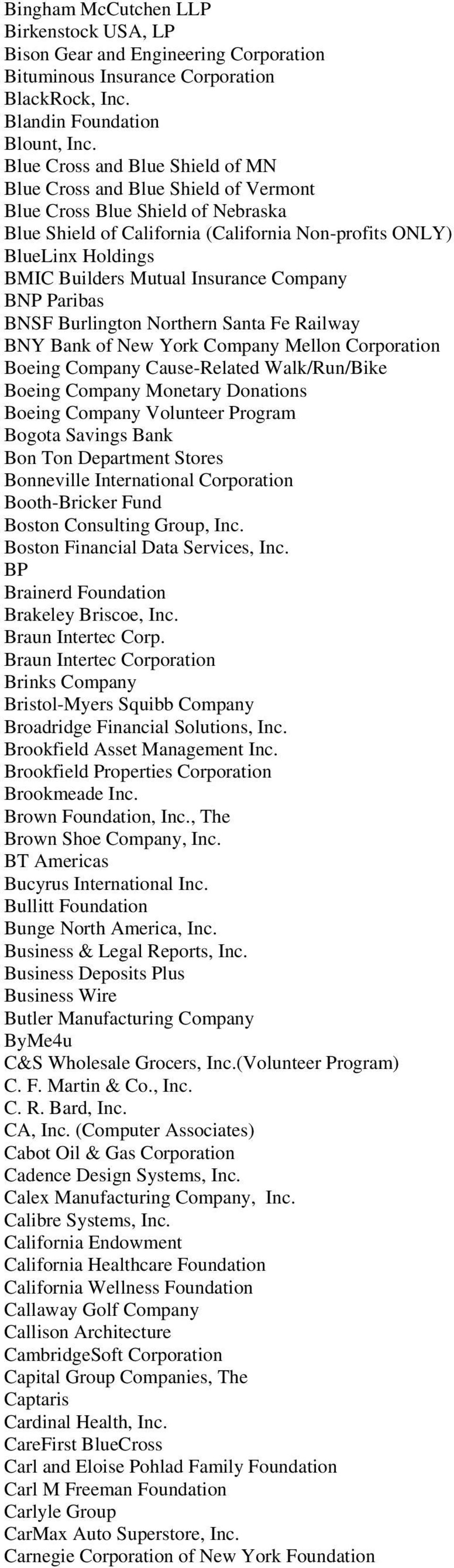 Matching Gifts  To follow is a list of corporations who may