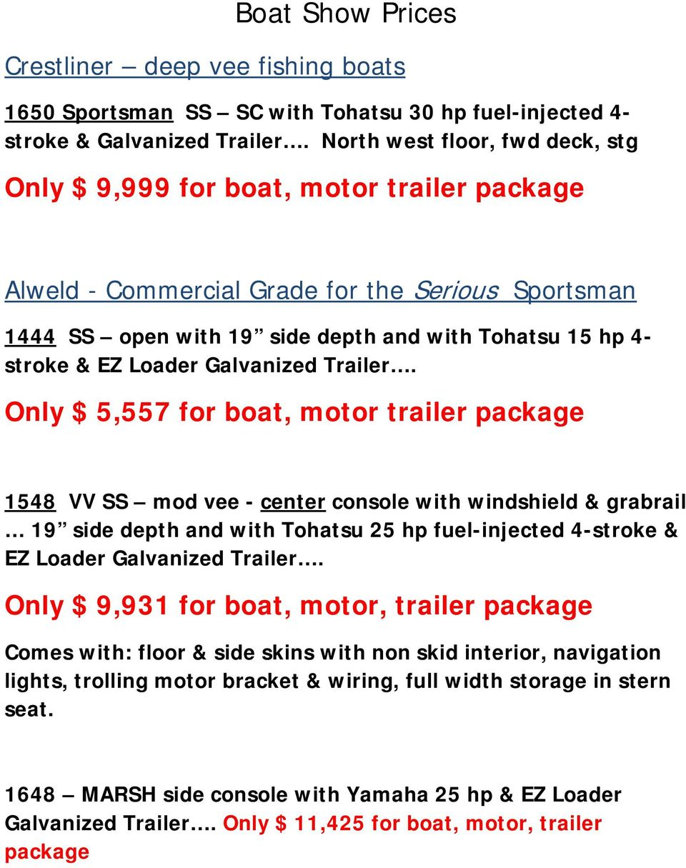 Boat Show Prices Sportsman Ss Sc With Tohatsu 30 Hp Fuel Injected 4 Crestliner Pontoon Wiring Diagram Loader Galvanized Trailer