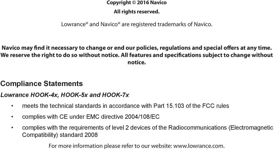 HOOK-X Series  Operation manual  lowrance com ENGLISH  HOOK