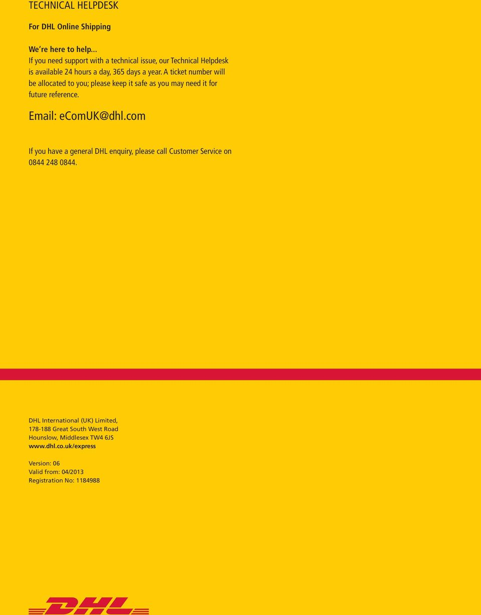dhl ONLINE SHIPPING USER GUIDE - PDF
