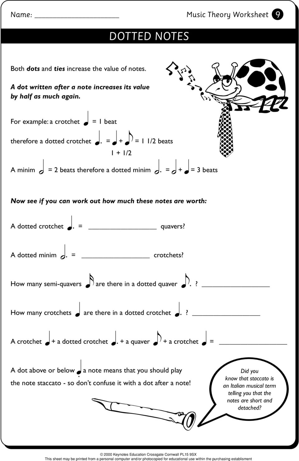 Music Theory Worksheet  Music Theory 1 - PDF