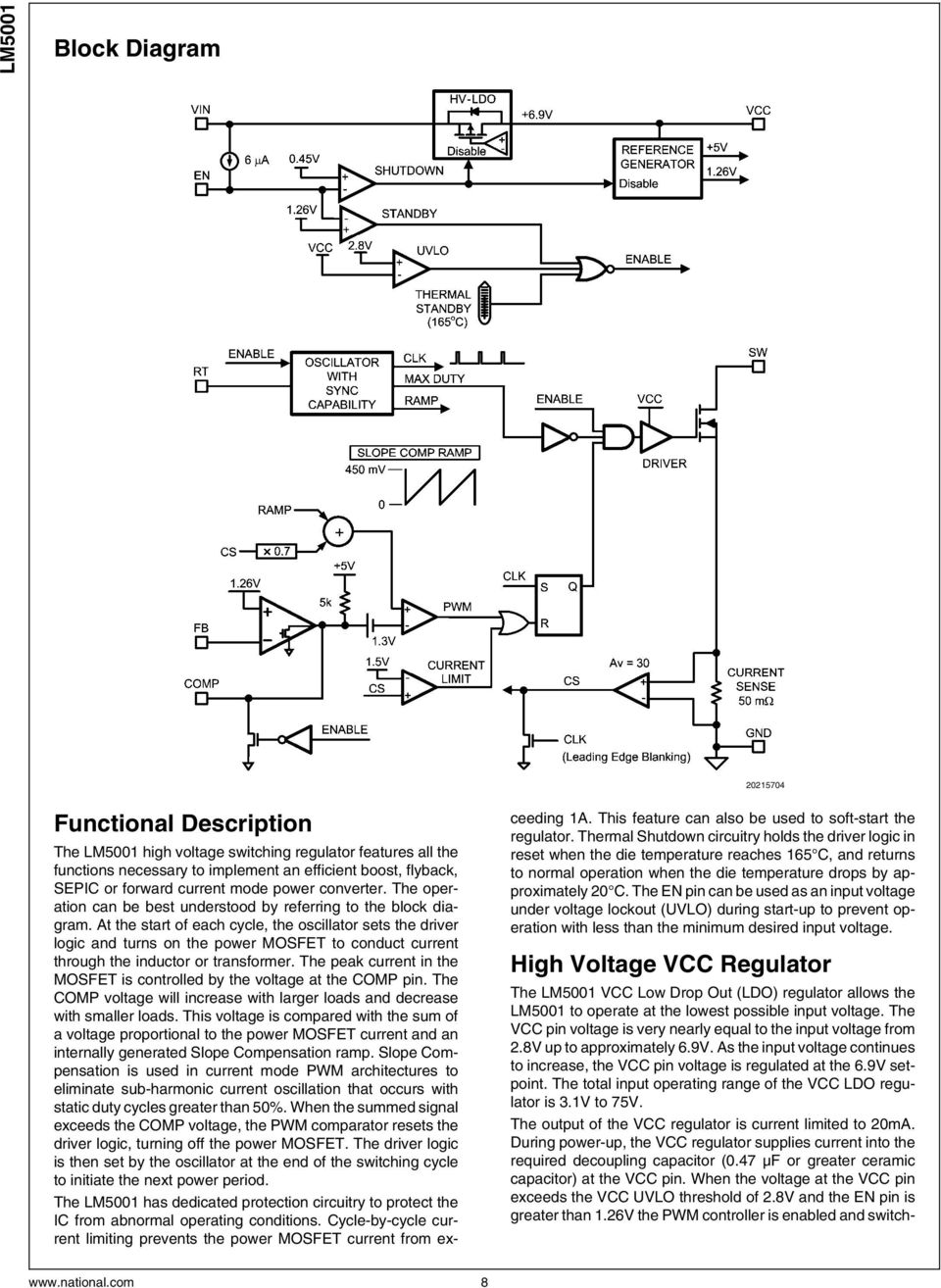 Lm5001 High Voltage Switch Mode Regulator Pdf Circuit Of Lm339 Motorcontrol Controlcircuit Diagram At The Start Each Cycle Oscillator Sets Driver Logic And Turns On