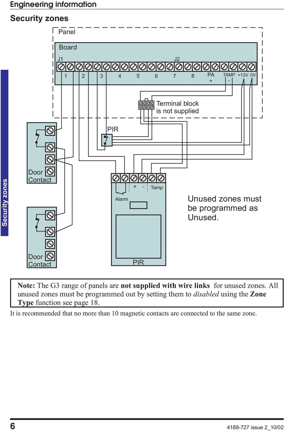 Intruder Alarm System Engineering Information Pdf Veritas Bell Box Wiring Door Contact Pir Note The G Range Of Panels Are Not Supplied With Wire Links