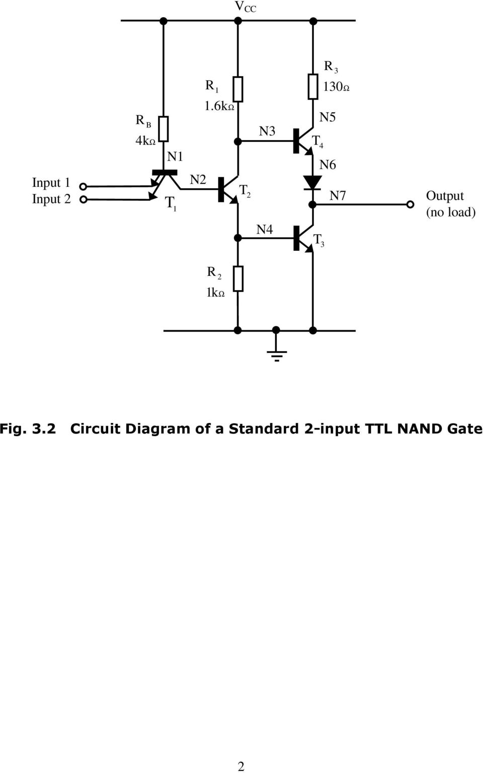 3 The Ttl Nand Gate Fig 31 Multiple Input Emitter Structure Of Inverter Circuit Schematic Output No Load R 2 K