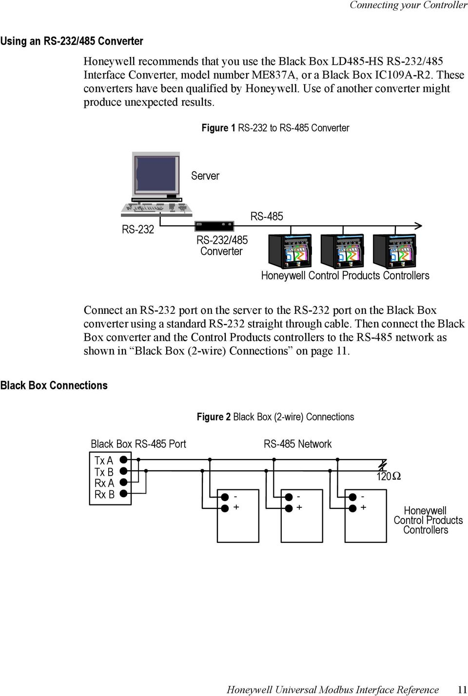 Honeywell Universal Modbus Interface Reference Pdf Rs 485 Diagram 2wire Figure 1 232 To Converter Server