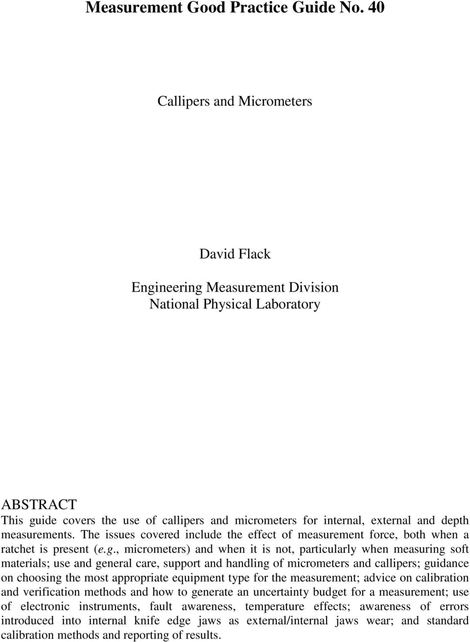 Good Practice Guide No  40  Callipers and micrometers  David Flack