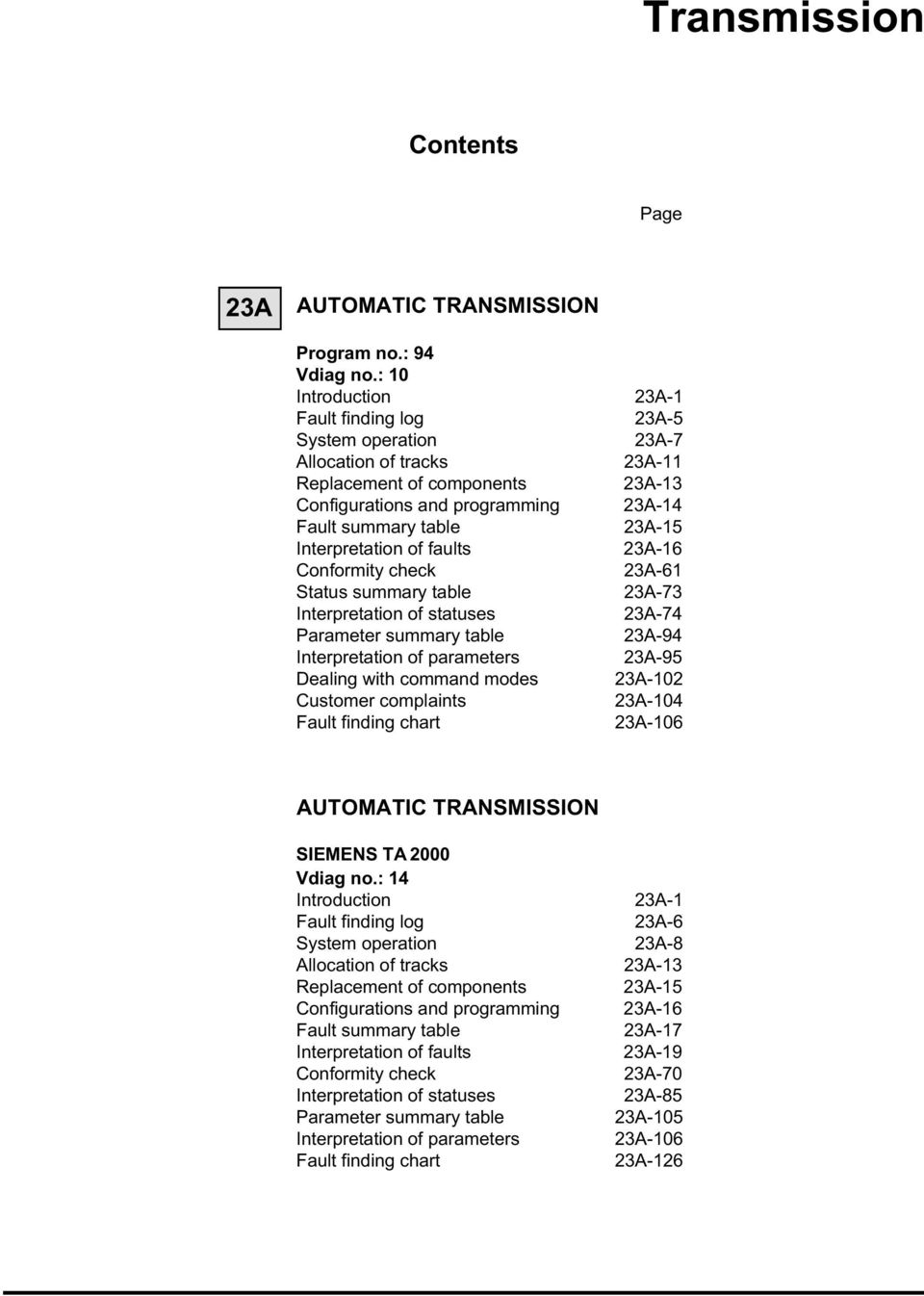 Transmission AUTOMATIC TRANSMISSION SEPTEMBER 2005 EDITION