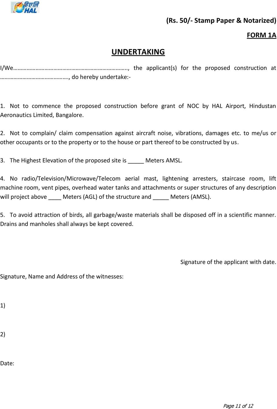 Procedure for Issue of NOC for Height Clearance by HAL - PDF