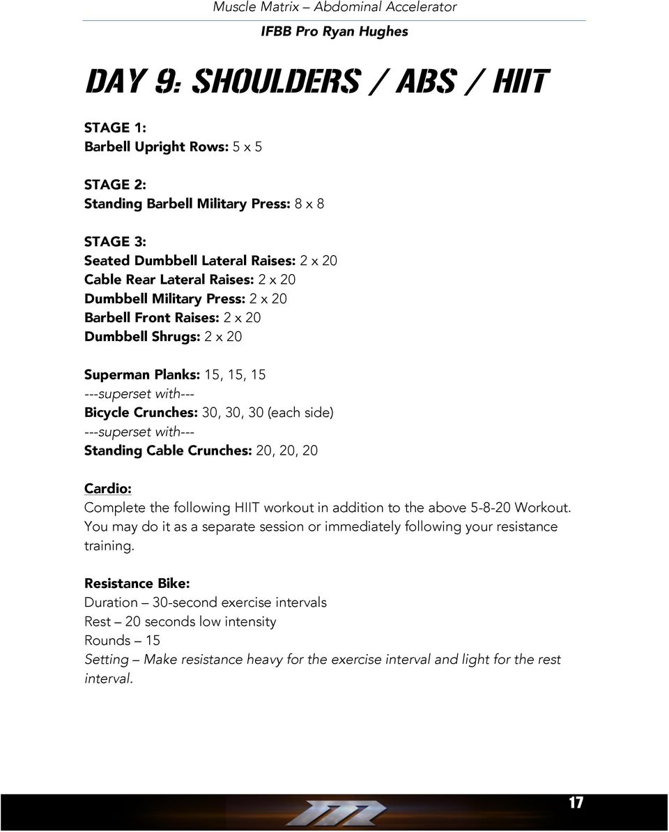 Muscle Matrix Abdominal Accelerator Ifbb Pro Ryan Hughes Pdf Superset Style Circuit Bootcamp Workout Ideas With Bicycle Crunches 30