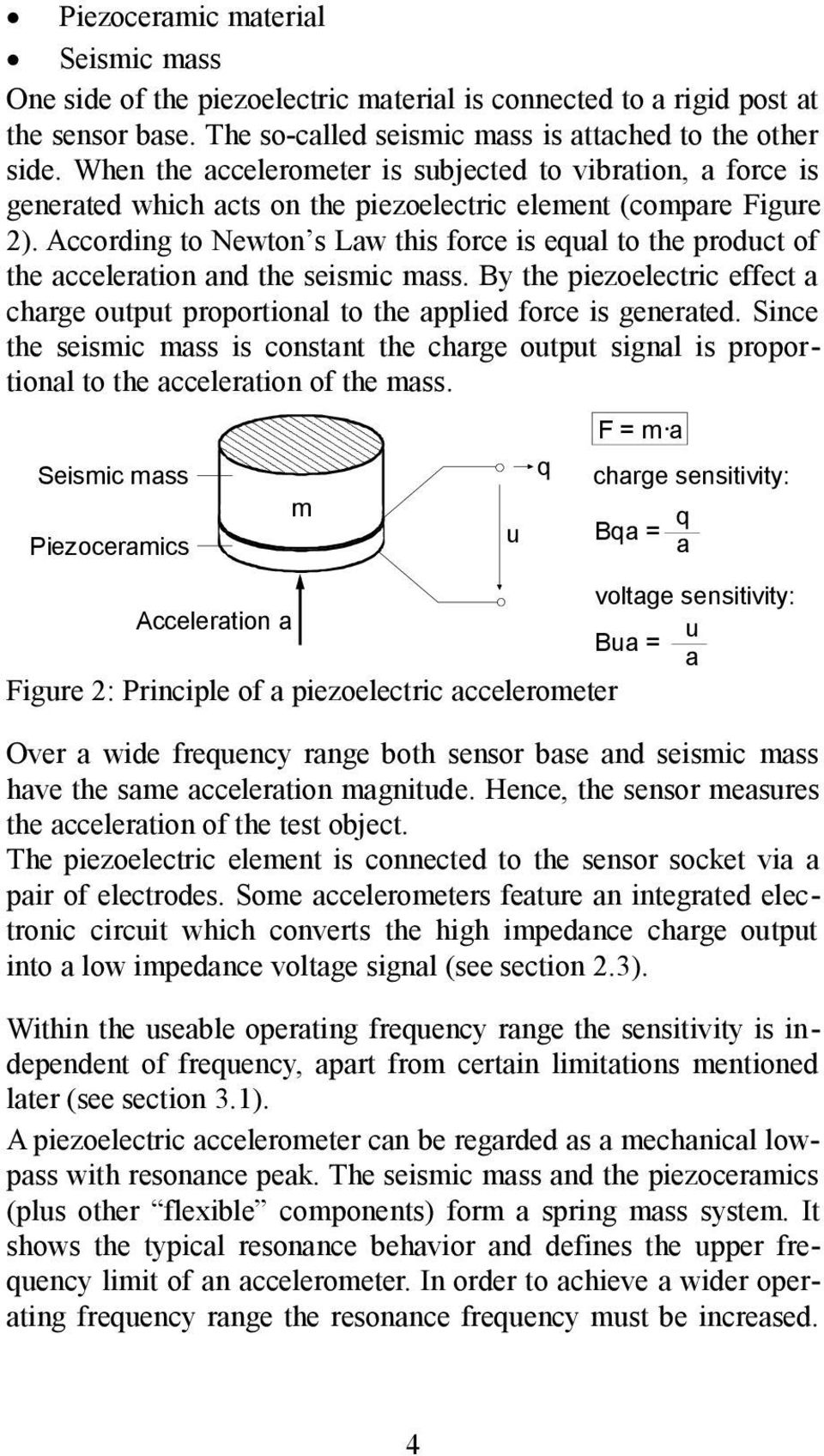 Piezoelectric Accelerometers Pdf Piezo Driver Circuit According To Newton S Law This Force Is Equal The Product Of Acceleration And