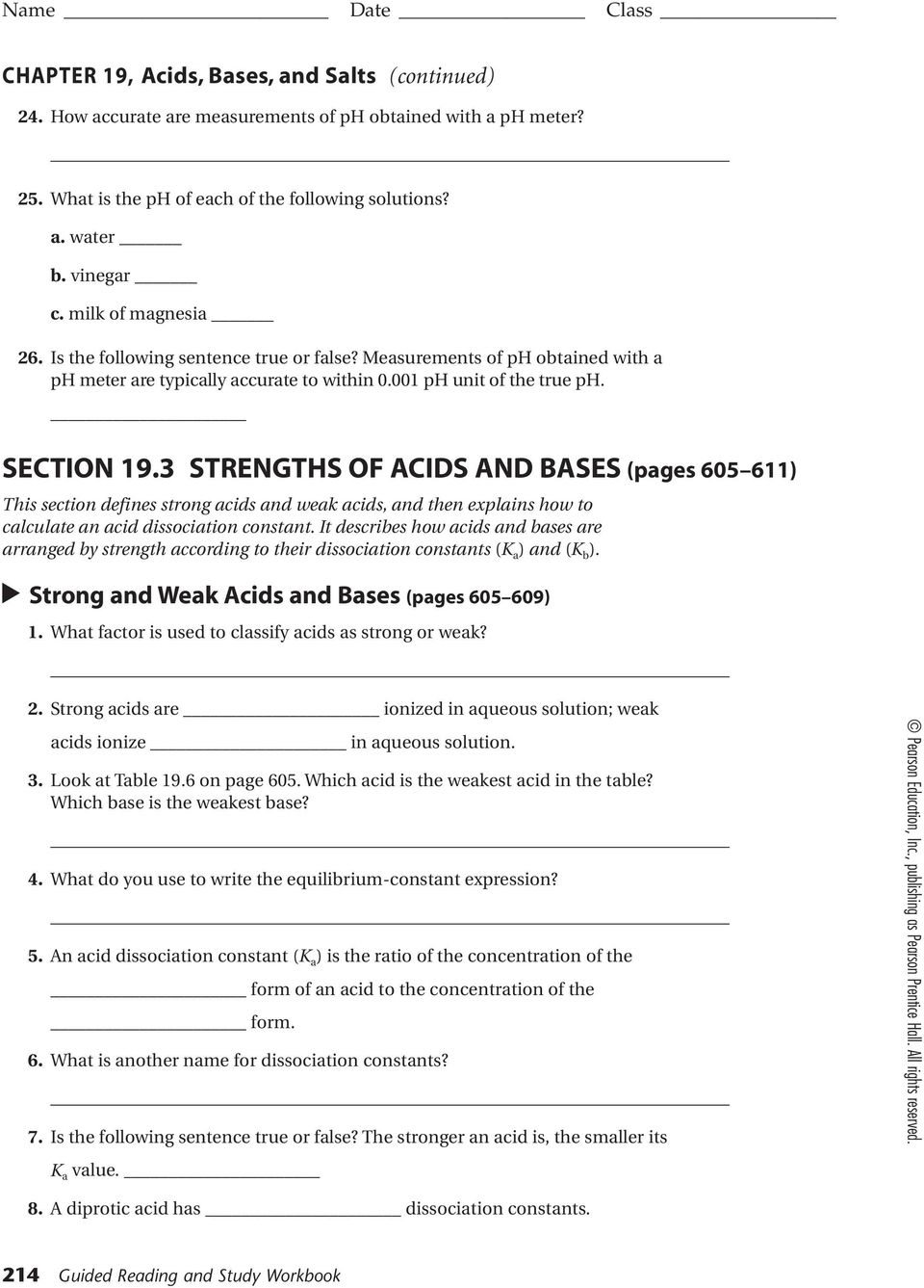 Chapter 19 Acids And Bases Homework Packet 50 Pts Name Score