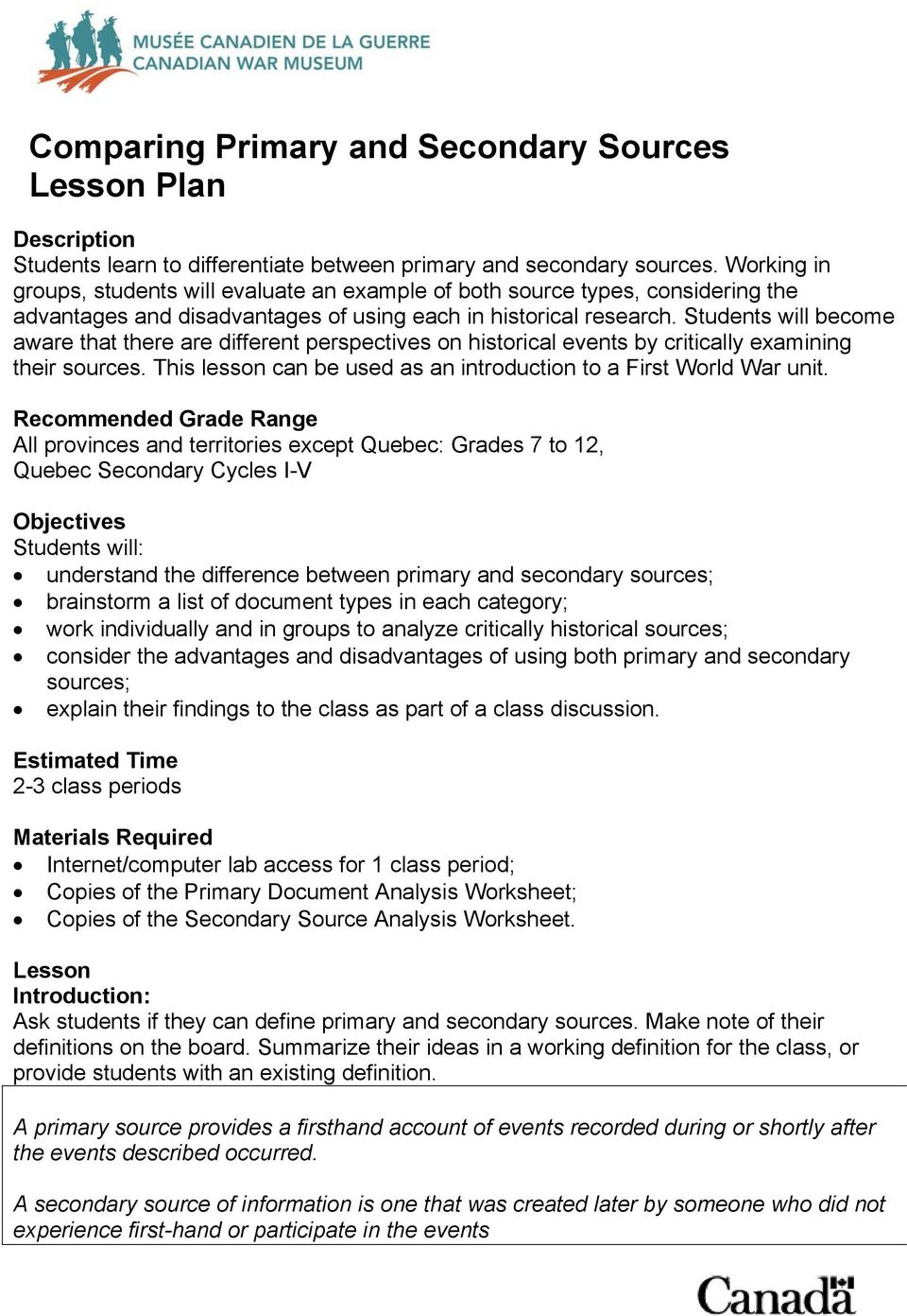 Comparing Primary and Secondary Sources Lesson Plan - PDF