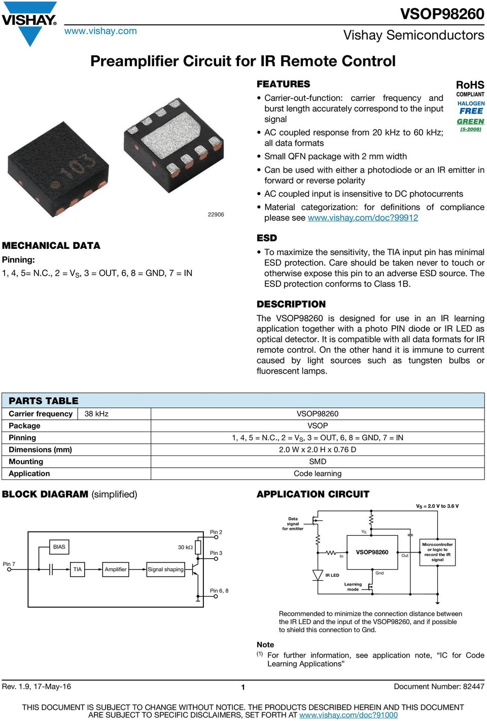 Preamplifier Circuit For Ir Remote Control Pdf Detect The Modulation Through An Accoupled Phototransistor Categorization Definitions Of Compliance Please See Vishaycom Doc