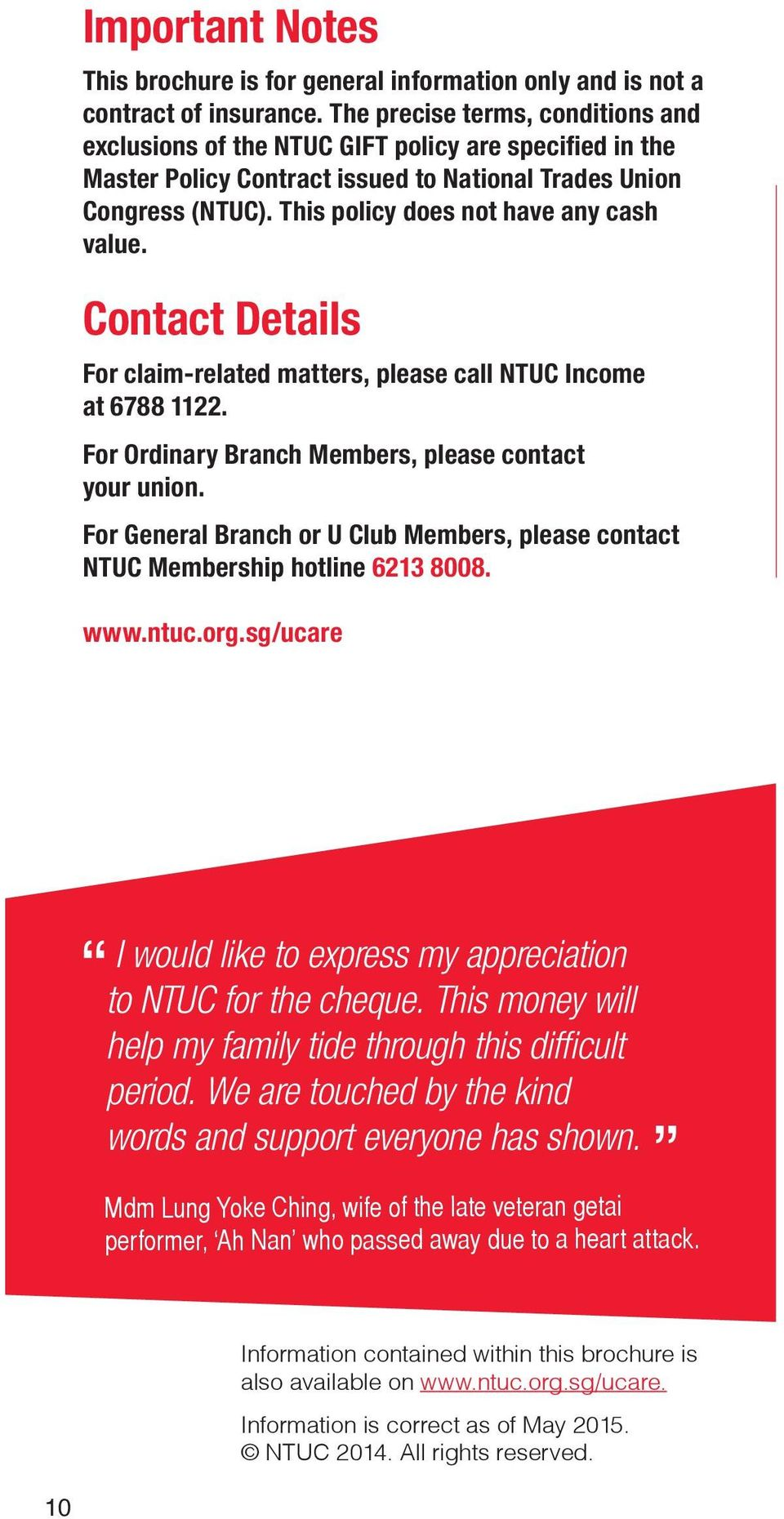 NTUC GIFT  Group Term Life Insurance For Trade Union Members